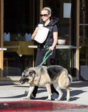 Reese Witherspoon walks Jake Gyllenhaal's german shepard in Hollywood, April 17